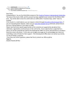 FoS Undergraduate Scholarship 2016