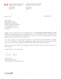 NSERC Letter of Acceptance - Summer 2014