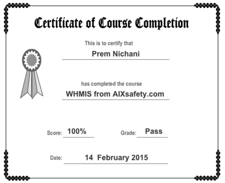 Gemütlich Whmis Zertifikat Vorlage Fotos - Entry Level Resume ...