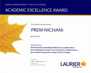 ... at Wilfrid Laurier University to students graduating with a 4 year BSc  in Honours Health Sciences to acknowledge those who graduate with an  outstanding ...